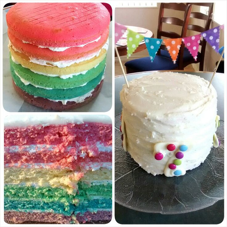 Rainbow cake version 2, with fabric bunting by Sew Sweet by Sarah Leigh <3  Cake recipe from:  http://www.bakingmakesthingsbetter.com/2012/08/blue-ombre-cake.html