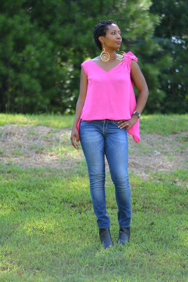 how to upsize a top that's too small, pink silk open back blouse with jeans, thrift store fashion finds. Refashion a thrift store top that had damage and was too small, thrift style fashion ideas