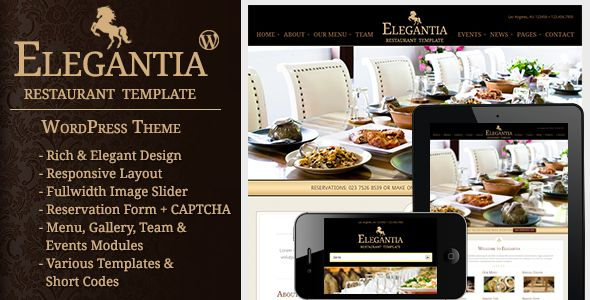 Elegantia - Restaurant and Cafe WordPress Theme   http://themeforest.net/item/elegantia-restaurant-and-cafe-wordpress-theme/3678945?ref=damiamio              Elegantia is a premium WordPress theme for Restaurants & Cafes. It has many features that are required in a restaurant business. For example. Reservation, Food Menus, Events, Gallery, Team Members, Contact, Impressive Homepage with fullwidth slider and services information.   Responsive Design—To make your site look awesome on smart…