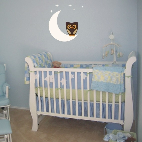 Owl on the Moon Nursey Kids Room Vinyl Wall Art by ModernDecals, $28.00
