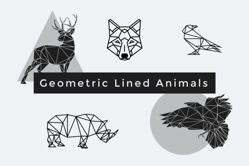 Geometric Lined Animals | #Sketch + #PDF + PNG. Use for #Logos, #Posters, #Clothes... Special price only in our store. Created with love by @goashape