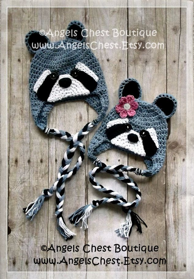 Crochet RACCOON Beanie Earflap Hat PDF Pattern Sizes Newborn to Adult Boutique Design - No. 56 by AngelsChest