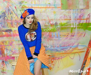 Olga Kalicka for MissSpark. Photo/Fashion/Styling: Agnieszka Iskierka. Cute, kawaii. Love, Fox, Foxes. Blue FOX Sweatshirt, Quilted Skirt & Beret available online: shop.missspark.com.