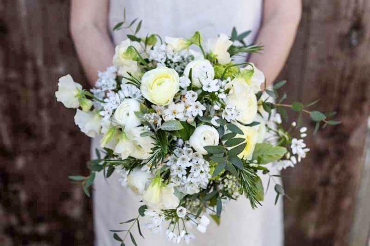 Creams and greens bridal bouquet.