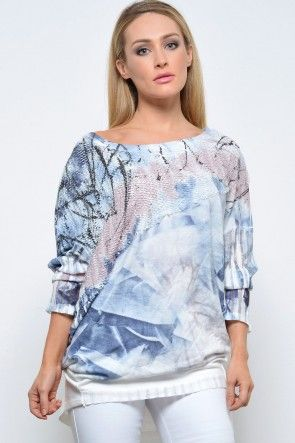 Stacie Knit Tunic in Blue