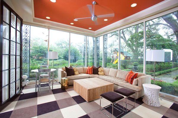 Good looking room with orange ceiling