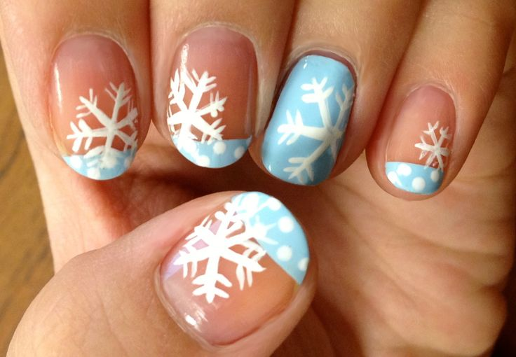 blue tips snow flakes nail art manicure pedicure nail polish