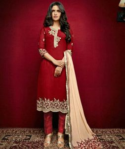 Buy Maroon Faux Georgette Pakistani Style Suit 77446 online at lowest price from huge collection of salwar kameez at Indianclothstore.com.