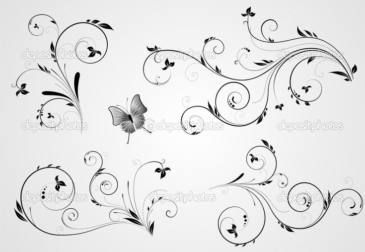 Set of floral swirl designs — Stock Vector #8587663