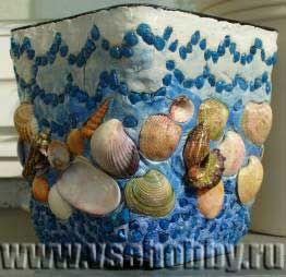 Цветочные горшки украшенные ракушками своими руками 3