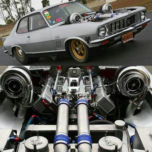 """Got Power - Yeah who remembers when the """"Mr Mad"""" Holden LJ Torana came out in Australia packing some twin turbo boosted goodness and running 7 second passes!  #justdavephotography  Source @dragcars_of_australia #Holden #torana #boost #turbo #dragracing #prostreet #raked #stance #mrmad #carporn #hotrod #streetrod #lowfastfamous"""