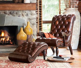 napa leather chair with footstool   Furniture Living Room Sorrento Leather Club Chair & Ottoman