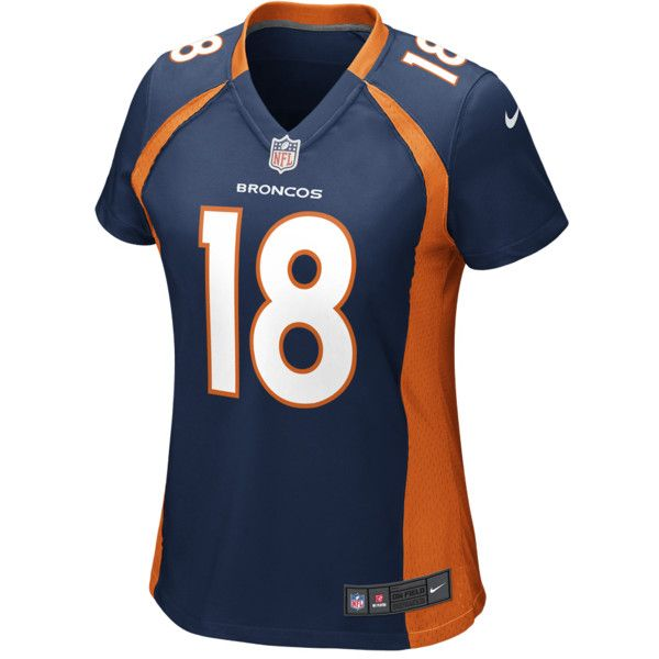 NIKE NFL Denver Broncos Game Jersey (Peyton Manning) Women's Football... ($95) ❤ liked on Polyvore featuring activewear, activewear tops, college navy, nfl sportswear, navy football jersey, nfl football jerseys, nike sportswear and nike