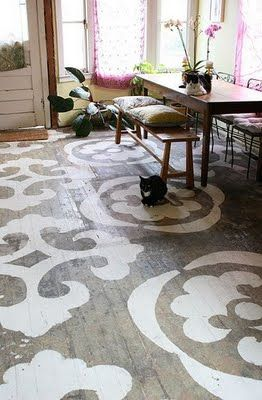 Stencil hardwood floorsPainted Wood, Dining Room, Ideas, Painting Wood Floors, Painting Floors, Stencils Floors, Porches, Design, Painted Floors