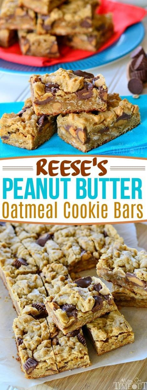 Reese's Peanut Butter Oatmeal Cookie Bars are perfect for the peanut butter lover in your life!  These easy oatmeal cookie bars are loaded with peanut butter and Reese's candy for the ultimate treat. This delicious recipe is perfect for an after school snack and makes enough for a party too. I wouldn't dream of serving them without ice cold milk - it's a must! // Mom On Timeout #oatmeal #cookies #cookies #bars #reeses #peanut butter #dessert #recipe #sweets