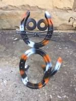 Horseshoe Cat, Garden Decor, Yard Art, Horseshoe Art, Western Decor