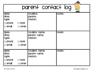 Parent Contact Log Primary~ Updated with new clipart! Best of all still free!