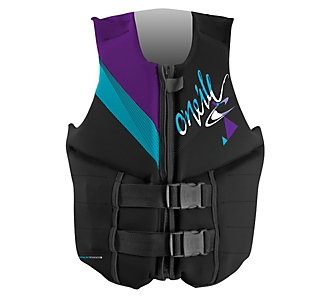 O'Neill Wake Waterski Women's Reactor 3 USCG Vest (Black/Petunia/Graphite,  Segmented Foam Core for Flexibility. Wakeboard and Waterski Vest.