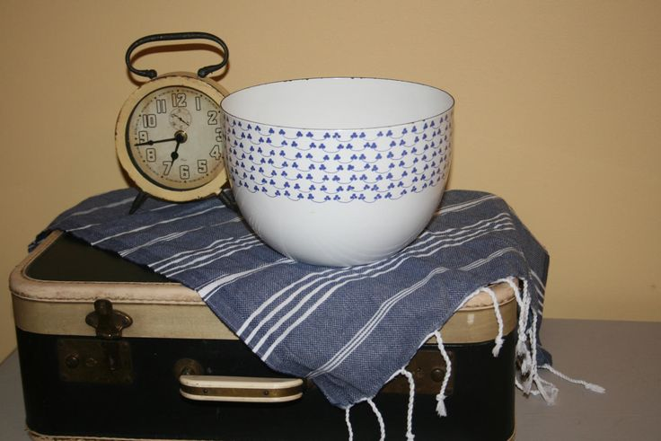 Vintage Kaj Franck Arabia Finland White Enamel Bowl Blue Clovers Flowers Great Condition by AstridsPastTimes on Etsy