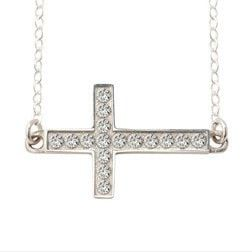 Sterling Silver Cross Necklace - Sideways Cross with CZ