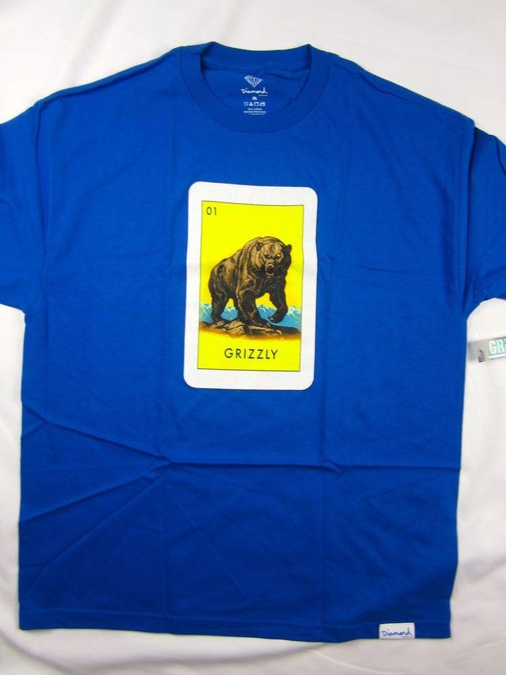 Diamond Supply Co El Grizzly Loteria Blue shirt men's skate Urban size XL #DiamondSupplyCo #GraphicTee