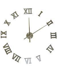 Moderní samolepící hodiny ve stříbrné barvě. Místo číslic jsou římské číslice pravidelně uspořádané do kruhu. Hodiny můžete umístit dle svých představ na plochu a vytvořit tak nevšední a stylový interiér. Hodinový strojek lze na stěnu zavěsit na háček. Hodiny jsou nejen praktickým, ale především designovým doplňkem Vašeho interiéru.
