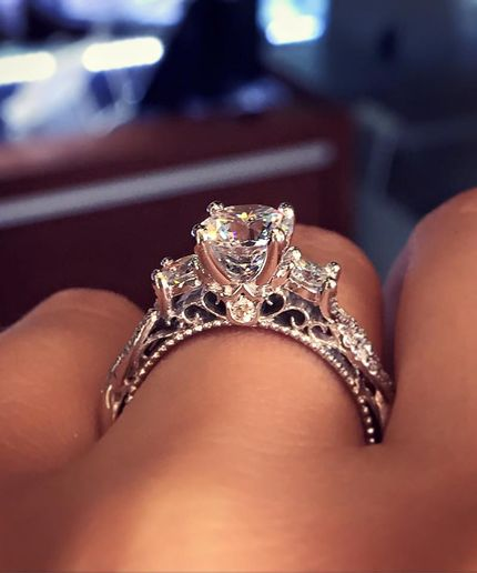 This diamond engagement ring from Raymond Lee Jewelers has been pinned over 63,000 times, making it the most pinned ring on Pinterest.