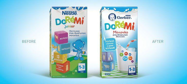 Дизайн упаковки детского молочка Gerber DoReMi для компании Nestle. Линейка Gerber DoReMi — это молоко, печенье, овощные пюре и другие продукты для малышей от 1 до 3 лет,приготовленные с учетом потребностей растущего организма.