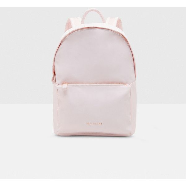 Ted Baker Textured trim backpack ($120) ❤ liked on Polyvore featuring bags, backpacks, baby pink, ted baker, ted baker backpack, top handle bags, knapsack bag and backpack bags