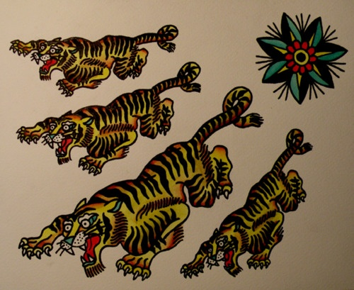 17 best images about tiger on pinterest kustom for American traditional tiger tattoo