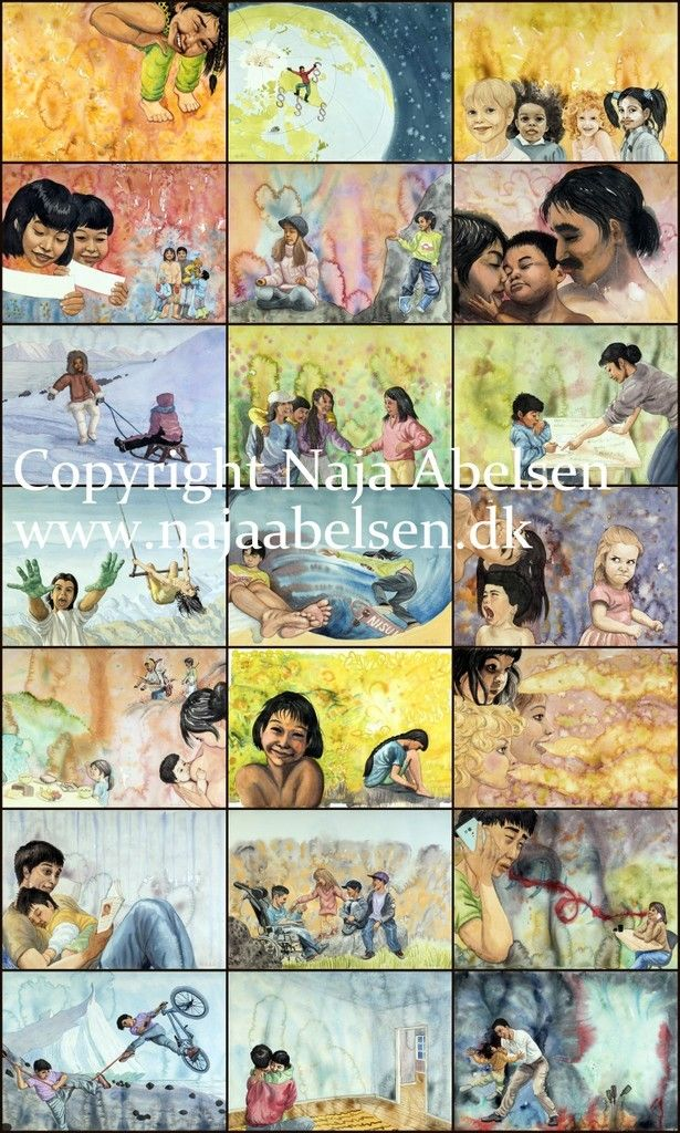 20 watercolour illustrations for a childrens book for the childrens rights organisation MIO in Greenland. The subject is FN's childrens convention. Illustrations by Naja Abelsen. Published 2017. Non-commercial: freely distributed to schools, kindergardens etc...(last illustration not published)