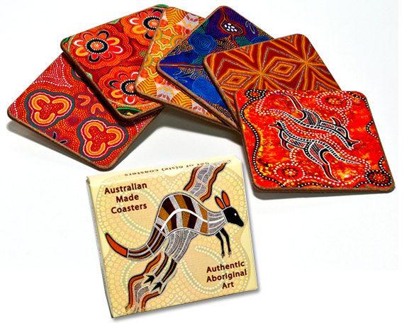 Australian Aboriginal Art Coasters Set of 6 by AboriginalOzArt