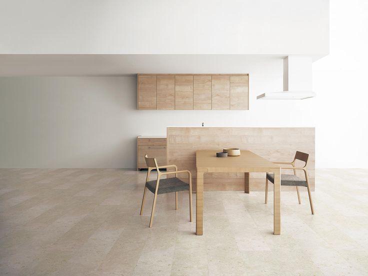 Panasonic キッチン:リビングステーション NEW L-CLASS [ リアロメープル柄 ] 床:Archi-spec フロアA 石目柄 [ 珊瑚石柄(ホワイトストーン)]