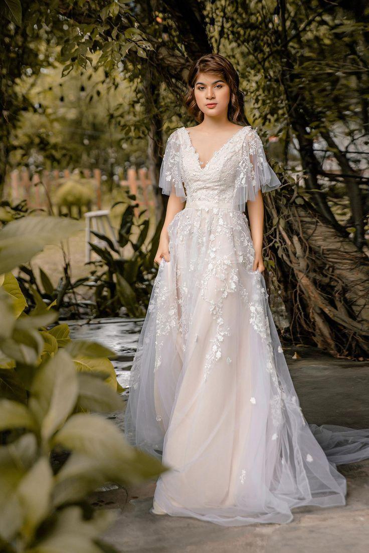 Sophia Vintage Blush Wedding Dress With Flutter Sleeve Open Back Blush Pink Wedding Dress Dream Wedding Dresses Vintage Blush Wedding [ 1104 x 736 Pixel ]