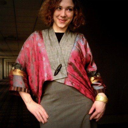 wow-  great upcycled kimono style jacket