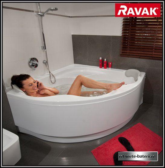 Cada de baie pe colt Ravak Gentiana cu suport
