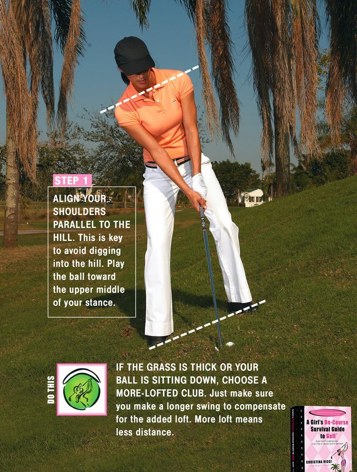 Angle your shoulders with the slope when on the fairway or off. The ball will go higher and less distance with an upslope so select the right club!