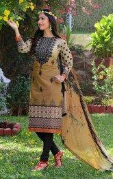 Beige Color Beautiful Unstitched Cotton Salwar Kamiz With Print Work