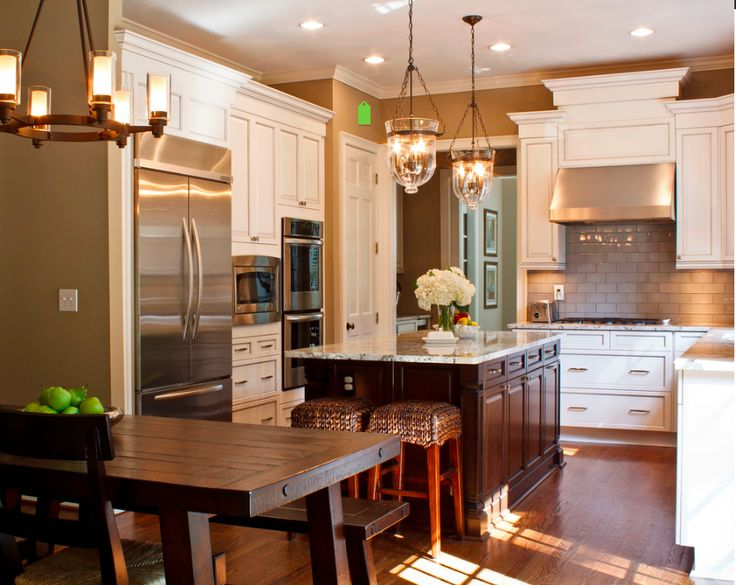 Lights White Cabinets Dark Color Kitchen Island Subway Tile Hardwood Floor Size Is About Right Just Have Go To Ceiling