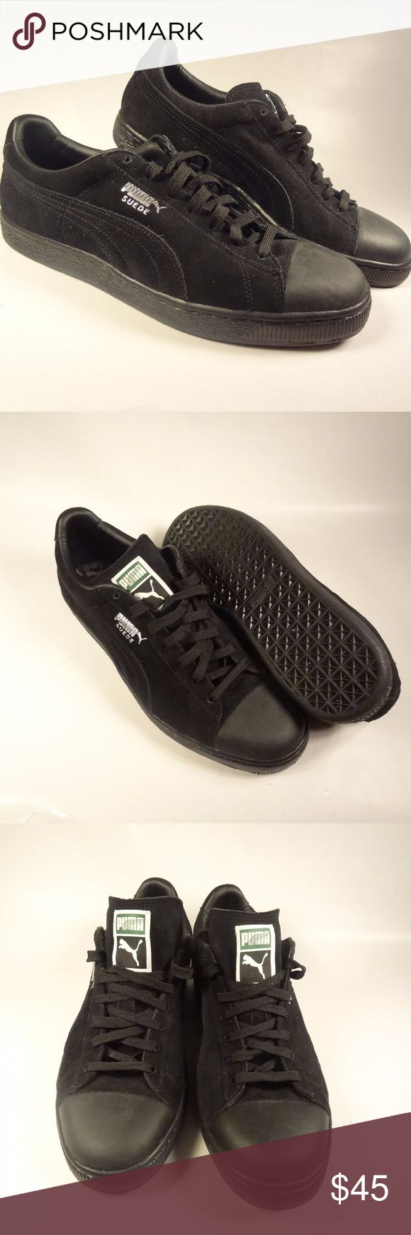 Men's PUMA Suede Classic Leather Formstrip Sneaker Brand new, never worn men's PUMA sneakers. All black with silver foil logo. Suede leather upper. Rubber sole. Puma Shoes Sneakers