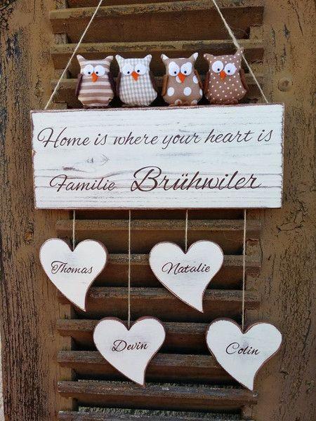 Tür- & Namensschilder - Türschild Namensschild mit Herzen und Stoff Eulen - ein Designerstück von Mein-Rosa-Rot bei DaWanda