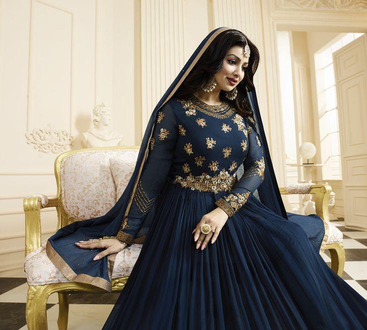 #Blue #Golden #Bridal #Wedding #Anarkali #Suit