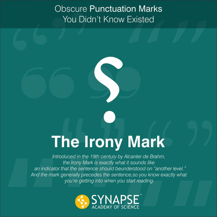"""#DidYouKnow  #Obscure #Punctuation Marks You Didn't Know Existed. Both marks take the form of a reversed question mark, """"⸮"""". Irony punctuation is primarily used to indicate that a sentence should be understood at a second level... #synapseeducare #AcademyofScience"""