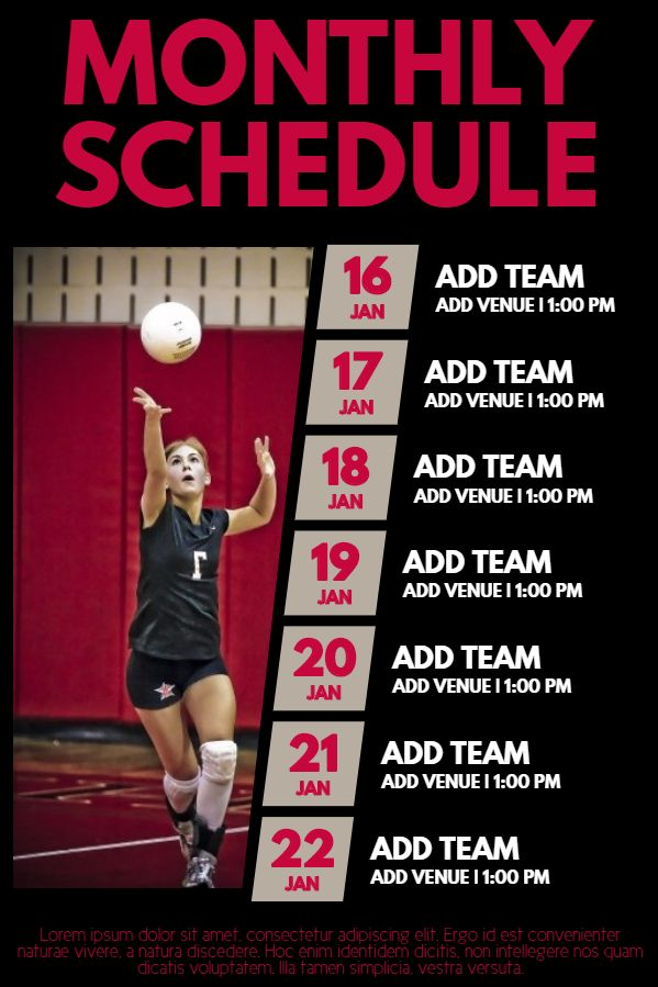 Volleyball match schedule poster template