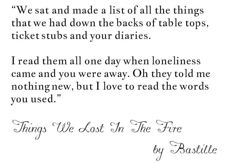 bastille things we lost in the fire songtext