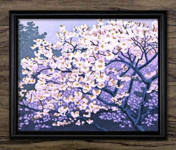 Vintage Japanese Cherry Tree Blossom Art Print  by InstantGraphics