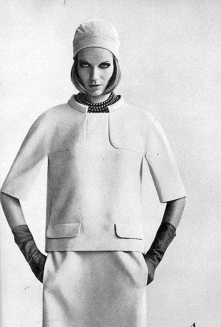 Veruschka in a two-piece dress of beige ribbed silk by Cooper Couture, photo by Gianni Penati, American Vogue, Feb.1, 1965