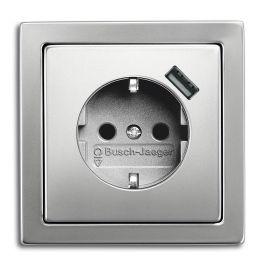 BJ stopcontact met USB lader rvs 2011-0-6166