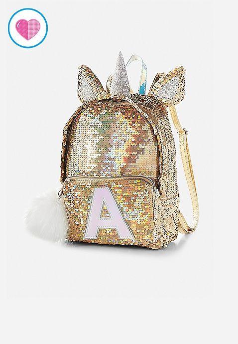 15ae5de34acd Unicorn Initial Flip Sequin Mini Backpack