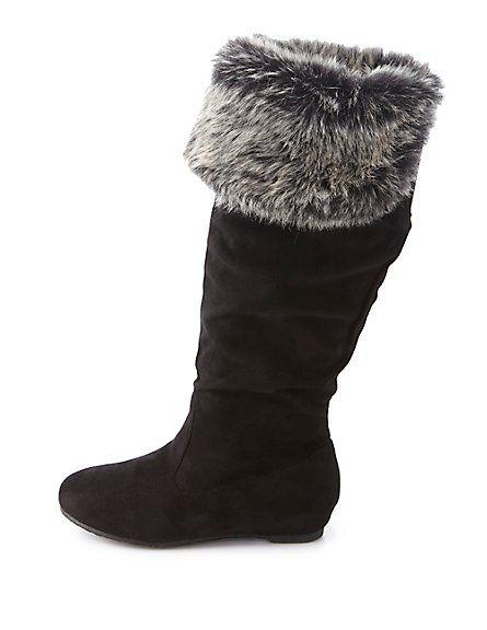 Faux Fur-Cuffed Knee-High Boots: Charlotte Russe #charlotterusse #charlottelook #CRshoecloset #fauxfur #cuffed #kneehighs #boots